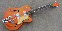 Orange hollowbody Gretsch Style rockabilly guitar2 x Filtertron pickups,Bigsby style tailpiece Free shipping direct from factory