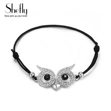 Charm Fashion Animal Bracelet For Woman Leather Elastic Cord Bracelet Silver Color Owl Bracelet Jewerly Wholesale Dropshipping(China)
