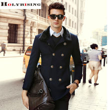 Winter Men Wool Coats Long Casual Double Button Jackets Turn Collar Peacoats Solid Overcoats Khaki Black Dark Blue Holyrising