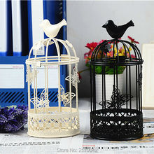 Vintage European Iron Candlestick Bird Cage Wedding Ornament Candle Holders Candler