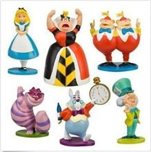 2017 Hot classic MINI ALICE IN WONDERLAND PVC Cake Toppers Figure Toy 6pcs set baby Kids toys(China)