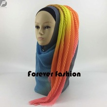 Fashion New Arrival 10pcs/lot Solid Plain Viscose Cotton Ombre Ombre wrinkle scarf Muslim Islamic Hijab Wrap Shawl PHealthy(China)
