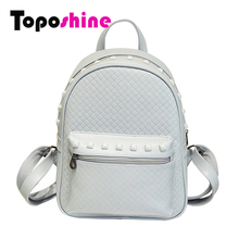 Toposhine 2017 Fashion Rivet Women Backpacks Small PU Leather Cute Lady Backpack Fashion Knitting Girls School Shoulder bags 588