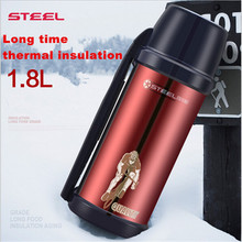1.8 liters oversized vehicle insulation pot genuine stainless steel vacuum thermos cup travel kettle spot Thermos bottle