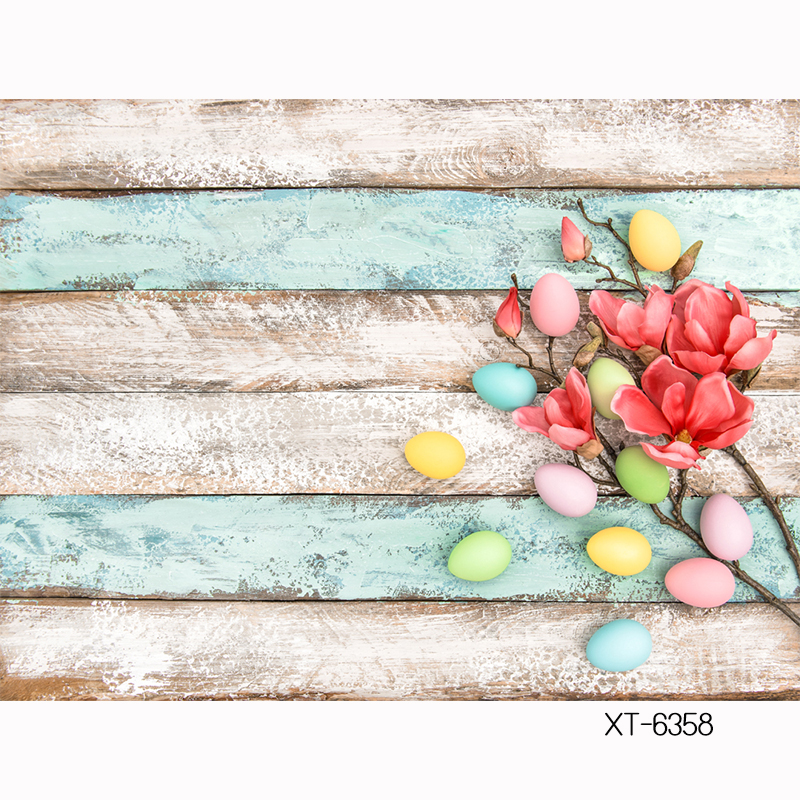 HUAYI custom Backdrop red blossoming flowers colorful Macarons easter eggs mini Photography on old wood board background XT-6358