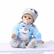 Sucking Pacifier Baby Bonecas Realistic Truly Reborn Babies Dolls 22'' Silicone Baby Doll Toy Touch Real Smile Boy Brinquedos