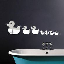 7pcs little duck pattern mirror stickers children's room baby room bedroom living room TV sofa background decorative mirror(China)