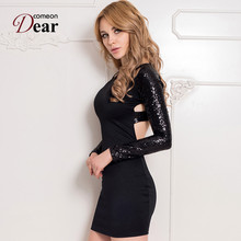 R70189 New Coming Little Black Dress Sequin Dress long Sleeve Dress For Women Beautiful Lady Black Back Open Bandage Dresses