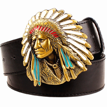 Fashion men belt west cowboy belt for men punk rock belts exaggerated style indian chief head Men's leather belt hip hop girdle(China)