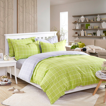 plaid green and gray 4PCS bedding sets(1 duvet cover 1 bed sheet 2 pillowcase)100% cotton kids queen pink bedclothes