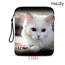 White cat print women 10.1 tablet bag 9.7 inch laptop bag pouch Smart Universal mini men notebook Case protective Cover IP-5561