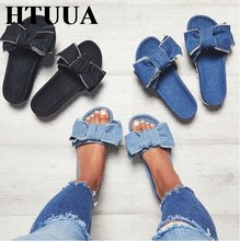 HTUUA Brand Slippers Women Denim Slippers Summer Slides Flat Sandals Non-slip  Casual Flip Flops Beach Shoes Home Slippers SX1296 f8ac731f1284