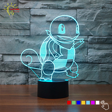 Touch Switch 3D Table Lamp Blue Squirtle Pokemon Figure Color Changing LED Night Light Bedroom Lighting New Year Gifts for Kids