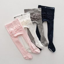 New Baby Kids Girls Cotton Tights Infant Lace Princess Stockings Slim Pants Hosiery Pantyhose PP Bottom(China)