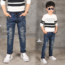 The boy jeans, children wear fashionable style and high quality kids jeans, boy leather jeans 3 4 5 6 7 8 9 10 11 12 13 14 year(China)