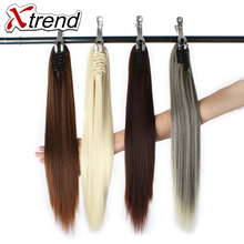 Xtrend 20inch Straight Hair Ponytails Synthetic Claw Clip In Plastic Comb Hairpieces Natural Black Brown High Temperature Fiber(China)