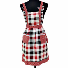 England style grid style Women Lady Restaurant Home Kitchen Pocket Cooking Cotton Apron Bib Mom panifore dress drop shipping