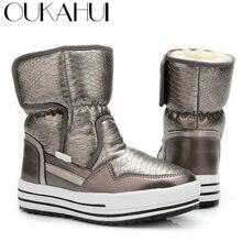 OUKAHUI 2018 Fur Boots Winter For Women Winter Ladies Shoes Print Design Non -Slip Waterproof Light Warm Mid Snow Boots Women New a2b9616aa6f