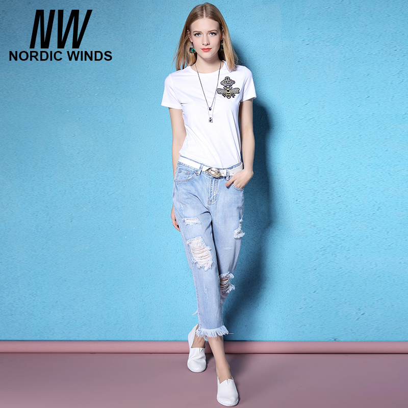 Nordicwinds The spring and summer of 2017 slim hole worn wool cotton old blue fringed female jeans seven feetОдежда и ак�е��уары<br><br><br>Aliexpress