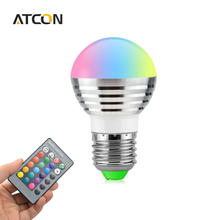 1X  AC 85V - 265V 3W 16 Colorful Changeable Magic Ball RGB LED Spotlight Bulb Decortive Stage light lamp+IR Remote Controller
