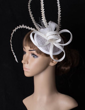 Elegant fascinators sinamay base adorned long shaped feather headwear great as cocktail hats party show occasion  hair acdessory