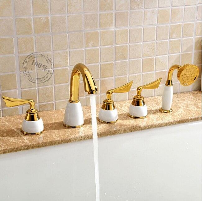 Modern Deck Mount Three Handles Bathroom Tub Mixer Faucet with Handheld Shower Golden 5pcs Widespread<br><br>Aliexpress