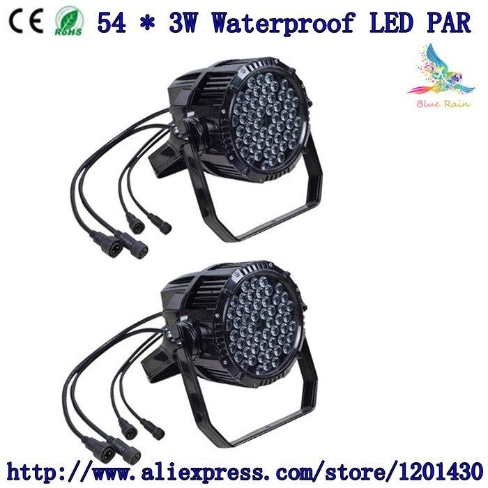 2pcs / 54 * 3w waterproof led par light wedding lights, waterproof par stage lighting DMX control dj equipment<br><br>Aliexpress