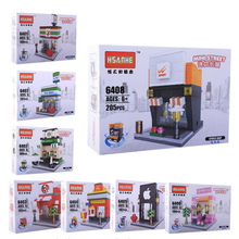 Mini Street Scene 3D Model Retail Store Shop Miniature City Building Block Toy with BOX Hsanhe Compatible with lego