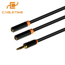 Cabletime Audio Cable Jack 3.5mm Aux Cable 1 Male To 2 Female Headphone Extension Cable for CarPlayer Tablet Adapter Laptop N073(China)