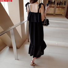 2017 HOT Long Style women Dress new fashion summer women high quality beach holiday bow suspenders sexy fishtail dress