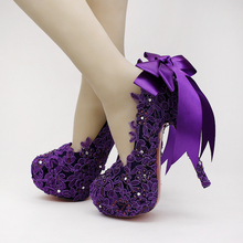 Purple / Pink / White Bowknot Bride Lace Ribbon Belt Ribbon Waterproof Table Women Shoes Fashion High Heels Pump Banquet Shoes