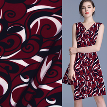 Pure silk Crepe DE chine silk fabric fashion red black white print 15momme 141cm width by yard,SCDC623