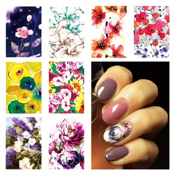 YZWLE 1 Sheet Optional DIY Chic Flower Designs Nail Art Beauty Flower Water Stickers Nails Decoration Decals Tools