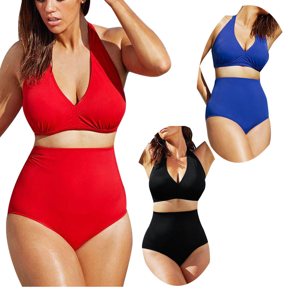 Plus Size Womens Halter High Waist Bikini Set Padded Push Up Swimsuit Swimwear