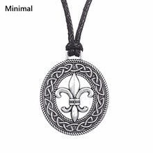 Minimal Medieval Fleur de Lis Pendant Slipknot Necklace French flower LILY Pagan Tibetan Jewelry Womens Clothing Accessories(China)