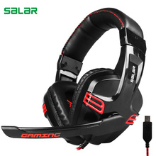 Salar KX236 Over Ear Stereo Gaming Headset Adjustable Gamer USB Headband with Mic Headphone for PC Computer