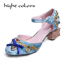 HIGHT COLORS Ankle Strap Buckle Wedding Shoes Women Bird Cage Flower Heel  Women s Flock Ethnic Shoes Pumps Velvet Mary Jane 2ccb 930efa4576d8