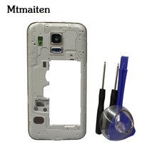 Mtmaiten Back Panel Frame Middle Bezel case For Samsung Galaxy S5 mini G800 Housing+Camera Lens Glass with Free tools