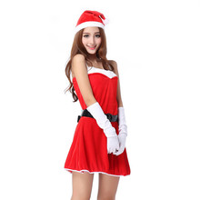 2017 Best Sale Women Sexy Santa Christmas Costume Fancy Dress Xmas Office Party Outfit winter dress vestido de festa robe femme(China)