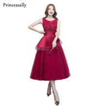 Wine Red Evening Dress Tea Length Appliques Lace Backless Bridal Sleeveless Transparent Banquet Sexy Prom Dress Robe De Soiree(China)