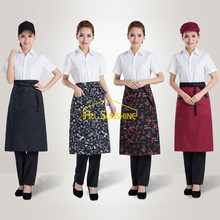 Chef Aprons Kitchen Restaurant Cooking Waiter Waist Aprons With Pocket Work Apron Bib Half-length Long Waiters Waitress Uniform