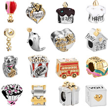 free shipping 1pc european 16 design choose birthday cake bus dolphin moon big hole Bead Charm Fit Pandora Charm Bracelet mix006(China)