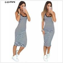Summer Casual Women Striped Dress Sleeveless Round Neck Slim Fit Bodycon Dress T Shirt Dresses