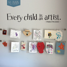 Every Child is an Artist Wall Decal Large Wallpaper Children Artwork Display Decal Picasso for home decoration Quote 17X100cm(China)