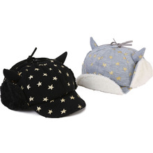 Stars Winter Baby Boy Hat Plush Lining Dual Purpose Infant Baseball Cap with Ear Flap for 1-2 years Black/Gray(China)