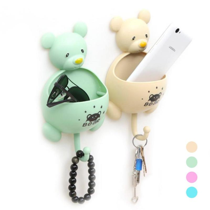 Cute Bear Shape Home Storage Holder Organizer Toothbrush Toothpaste Storage Box Brush Sucker Hanging Hooks Bath Accessories L50(China)
