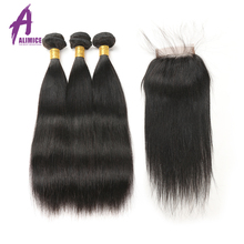 "Indian Straight Hair Weave Human Hair Bundles With Closure 4""X4"" Alimice Non Remy 3 Bundles With Lace Closure With Baby Hair(China)"