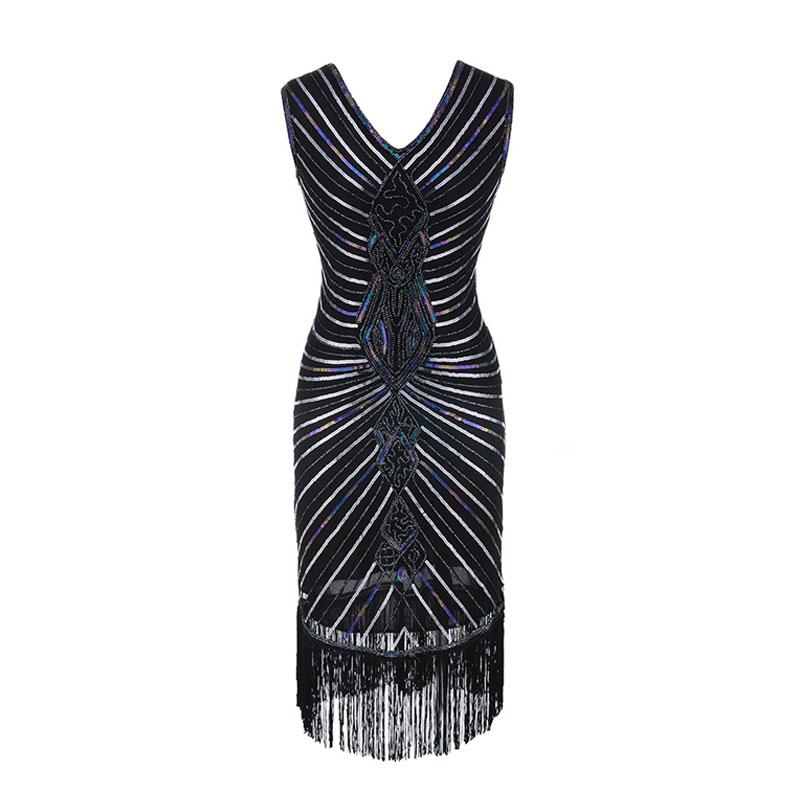 Women Gatsby Dress Geometric Sequins Mesh Patchwork Vintage Flapper 1920s Fringed Dress Bodycon Club Party Dresses Plus Size (5)