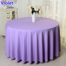 Violet colour wedding table cover table cloth polyester table linen hotel banquet party round tables decoration wholesale