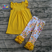 2017 toddler boutique outfits flora icing legging outfit flutter sleeve dress boutique clothing print
